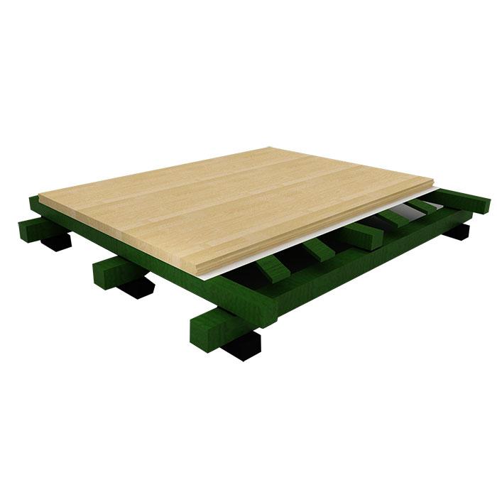 双龙骨实木毛板斜铺体育地板