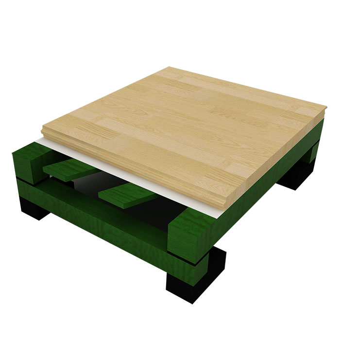 双龙骨实木毛板斜铺木地板
